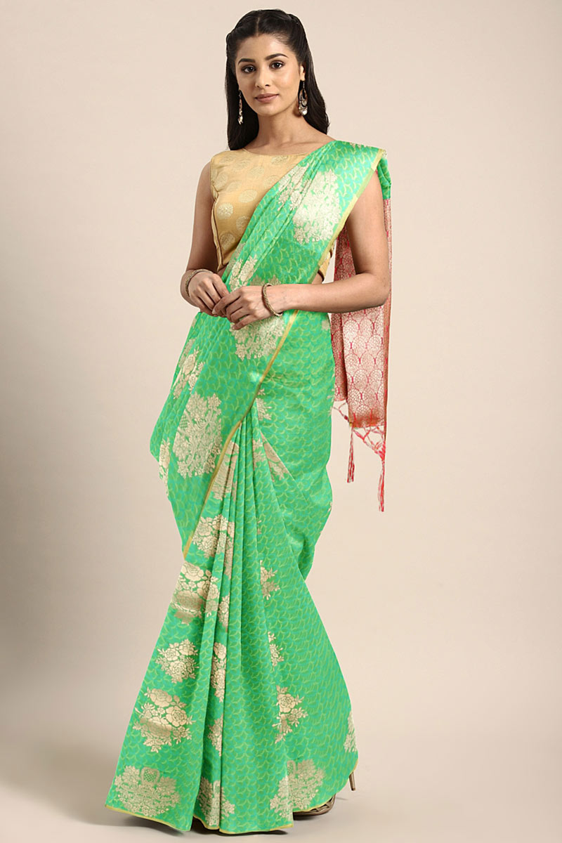 Weaving Work On Art Silk Green Function Wear Saree With Enigmatic Blouse