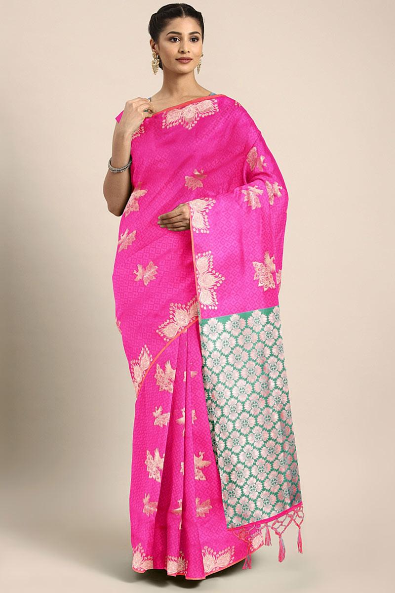 Weaving Work On Rani Art Silk Designer Saree With Captivating Blouse