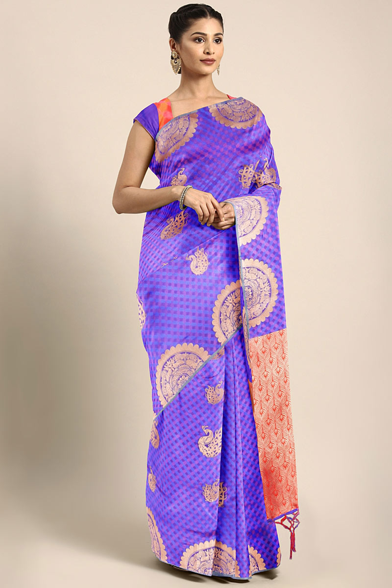Blue Art Silk Party Wear Saree With Weaving Work Designs And Tempting Blouse