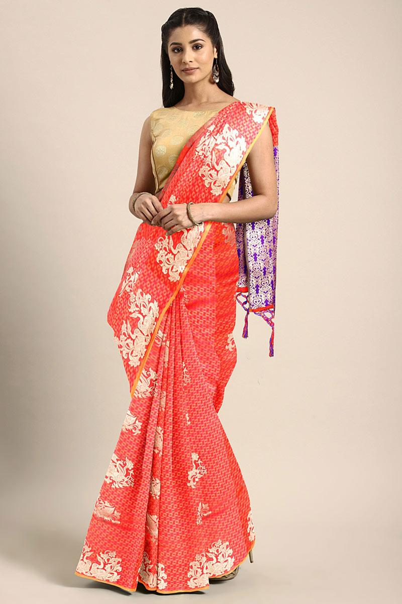 Weaving Work On Art Silk Designer Saree In Orange With Attractive Blouse