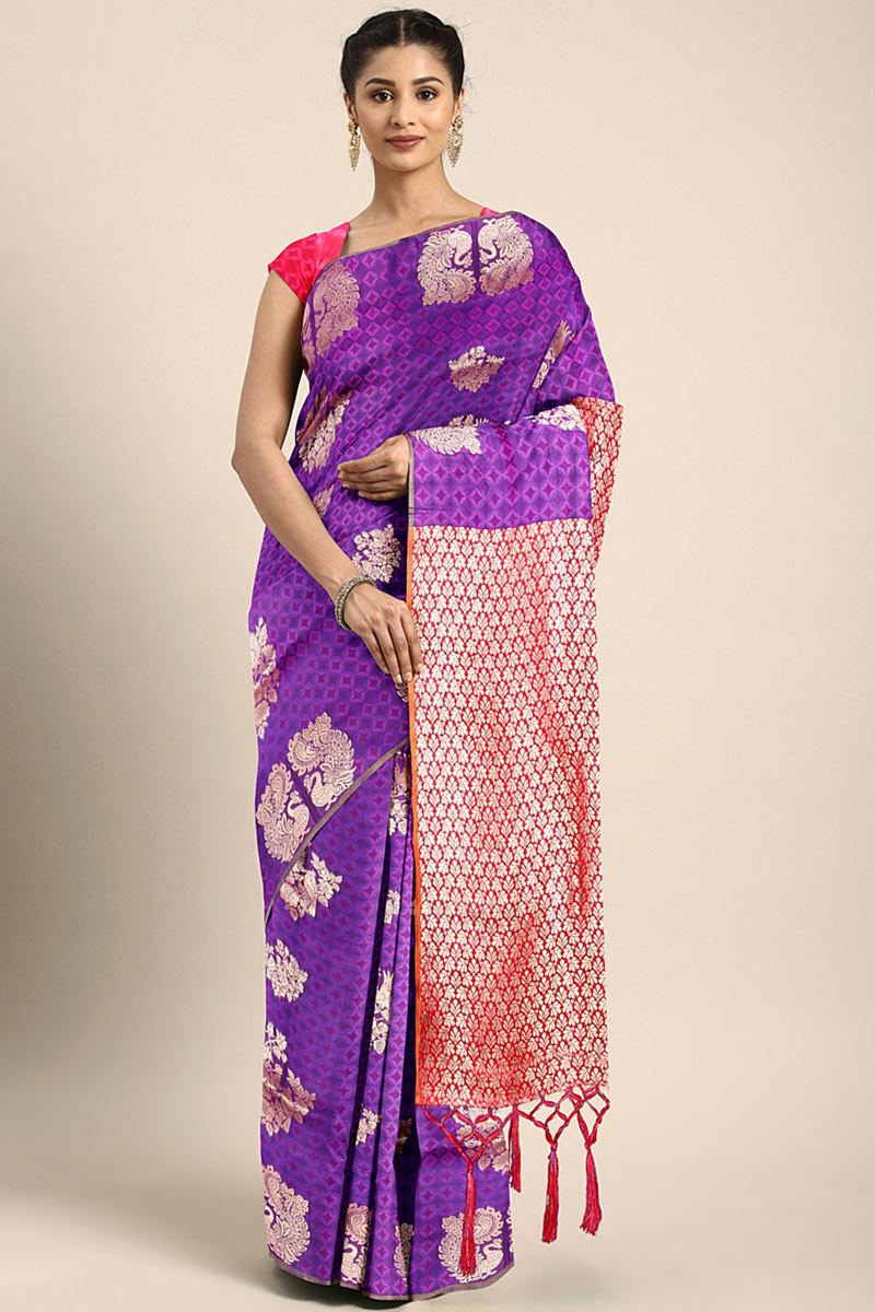Purple Party Wear Saree In Art Silk With Weaving Work And Designer Blouse