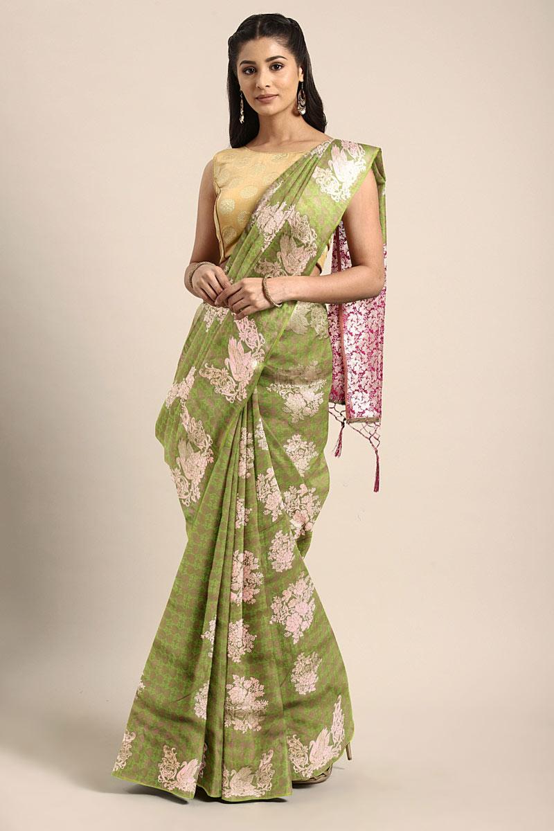 Art Silk Green Wedding Wear Saree With Weaving Work And Beautiful Blouse