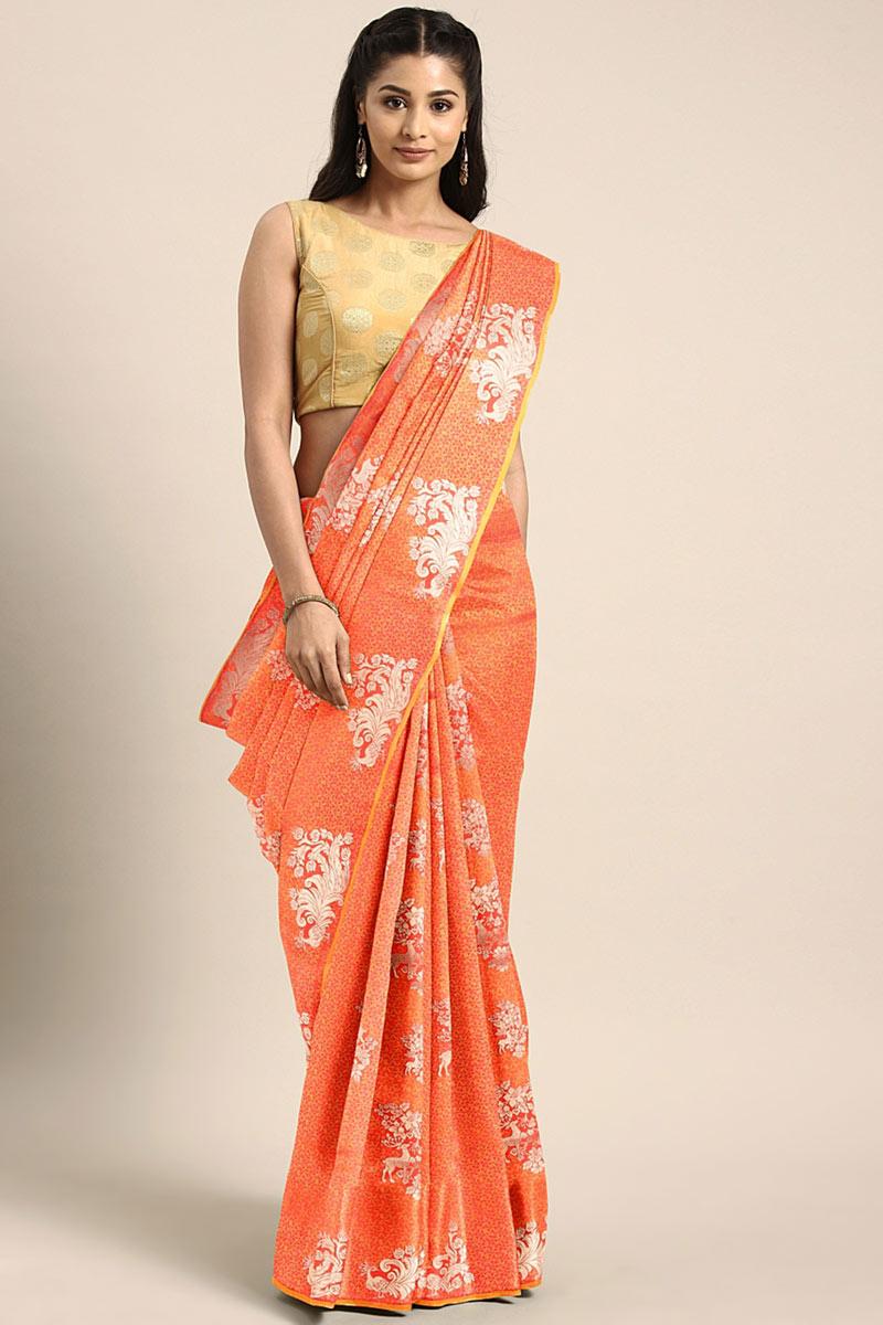 Sangeet Wear Art Silk Saree In Orange With Weaving Work And Alluring Blouse