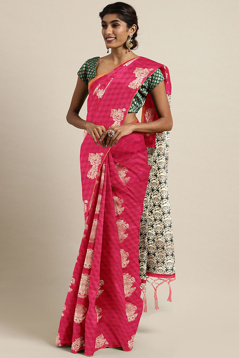 Dark Pink Art Silk Occasion Wear Saree With Weaving Work And Mesmeric Blouse