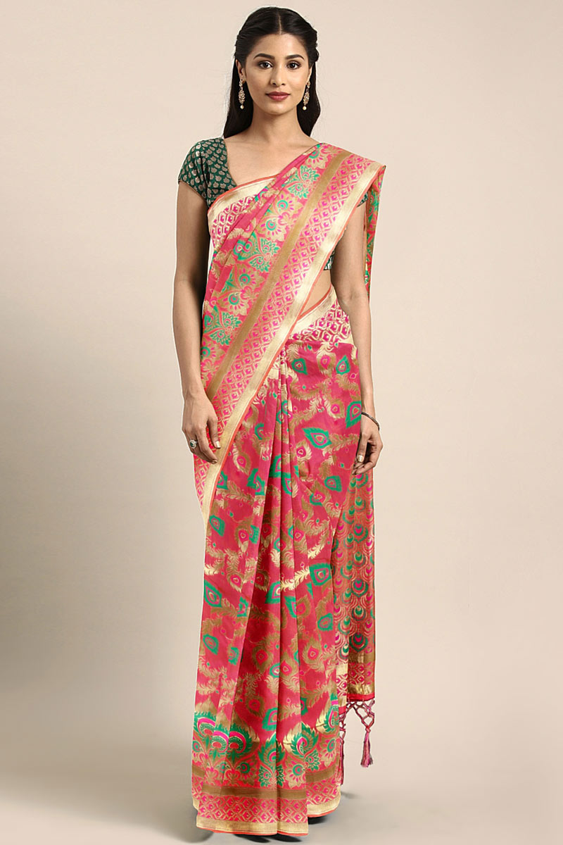 Traditional Rani Saree In Art Silk With Weaving Work For Wedding Function