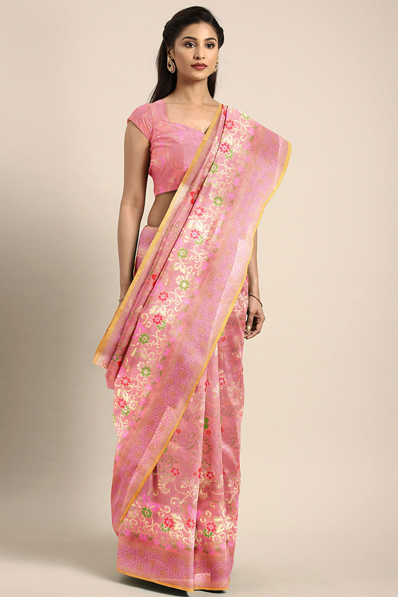 Weaving Work On Art Silk Party Wear Saree In Pink With Beautiful Blouse