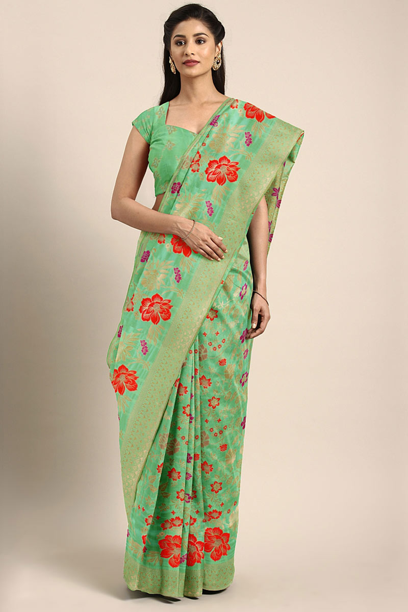 Sea Green Designer Saree In Art Silk With Weaving Work Designs And Attractive Blouse