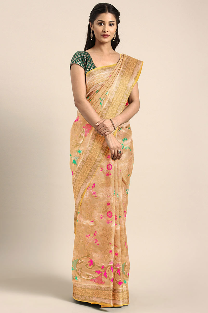 Art Silk Chikoo Occasion Wear Saree With Weaving Work And Designer Blouse