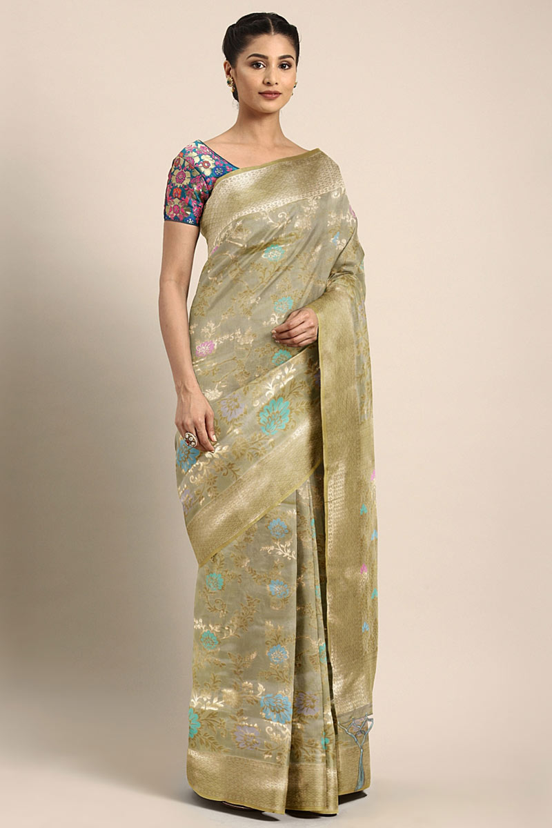 Function Wear Art Silk Weaving Work On Saree In Grey With Alluring Blouse