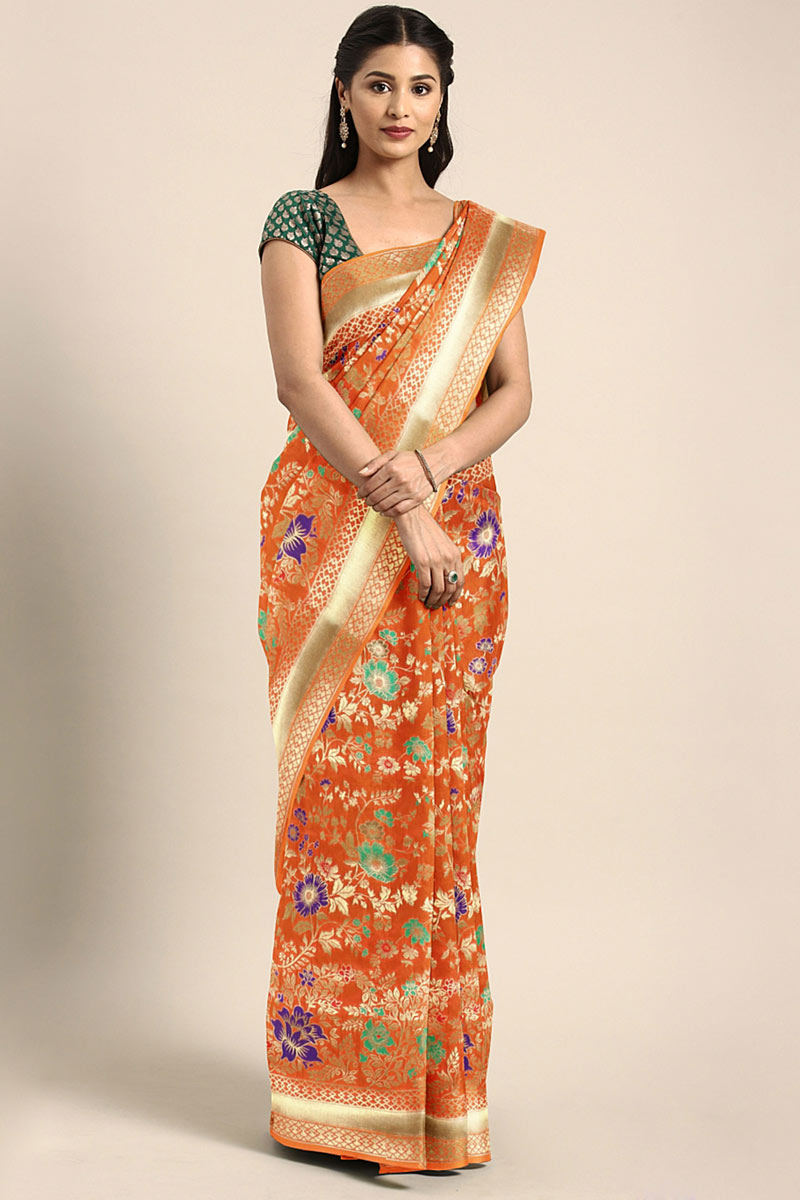 Weaving Work Designs On Art Silk Orange Party Wear Saree With Mesmerizing Blouse