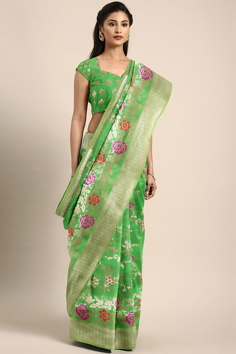 Green Art Silk Designer Saree With Weaving Work And Party Wear Blouse
