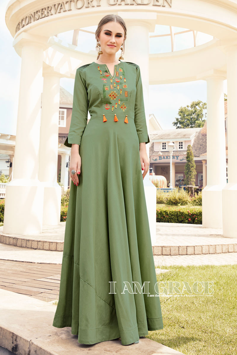Viscose Fabric Party Wear Designer Green Color Long Kurti With Embroidery