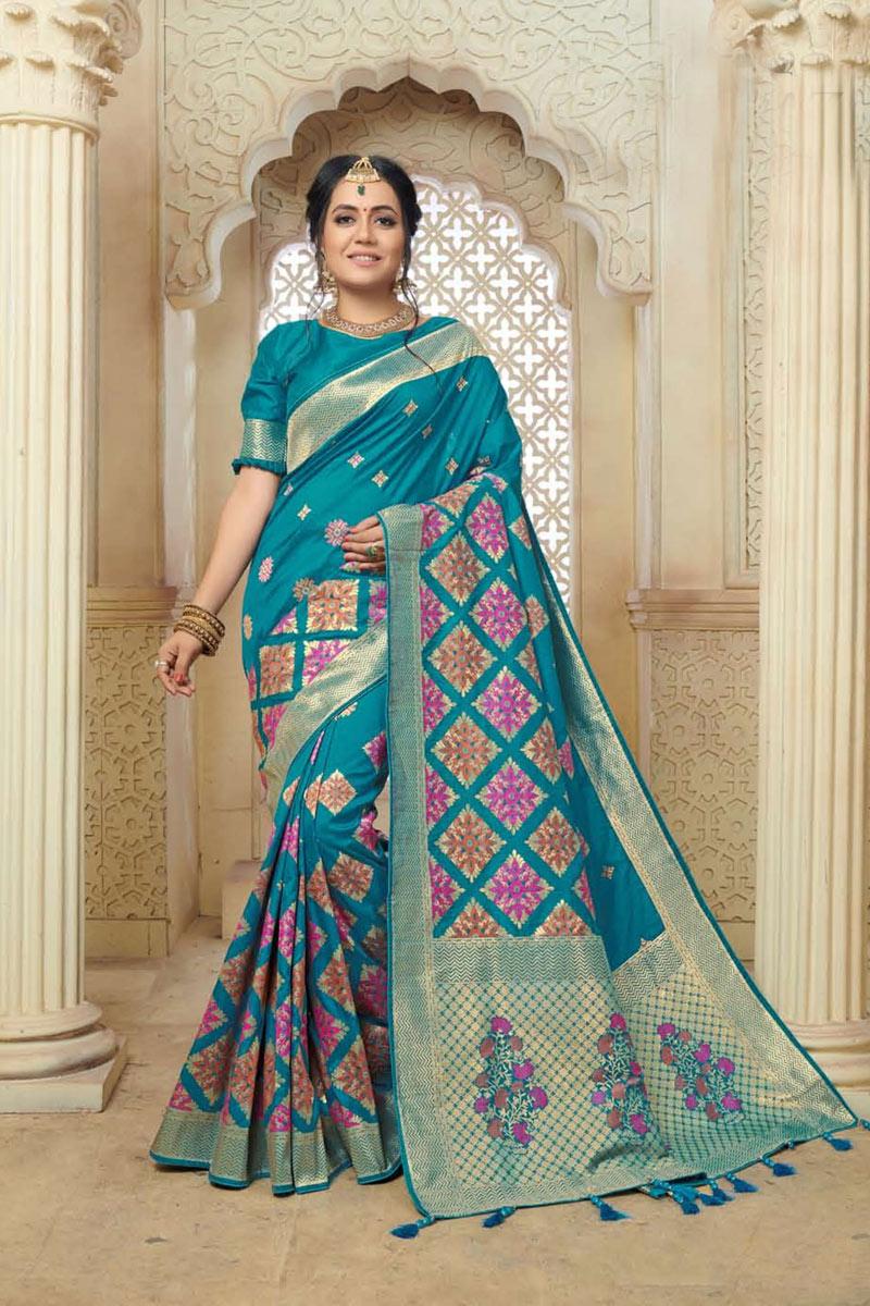 Sky Blue Color Banarasi Silk Fabric Wedding Wear Saree With Weaving Work And Gorgeous Blouse