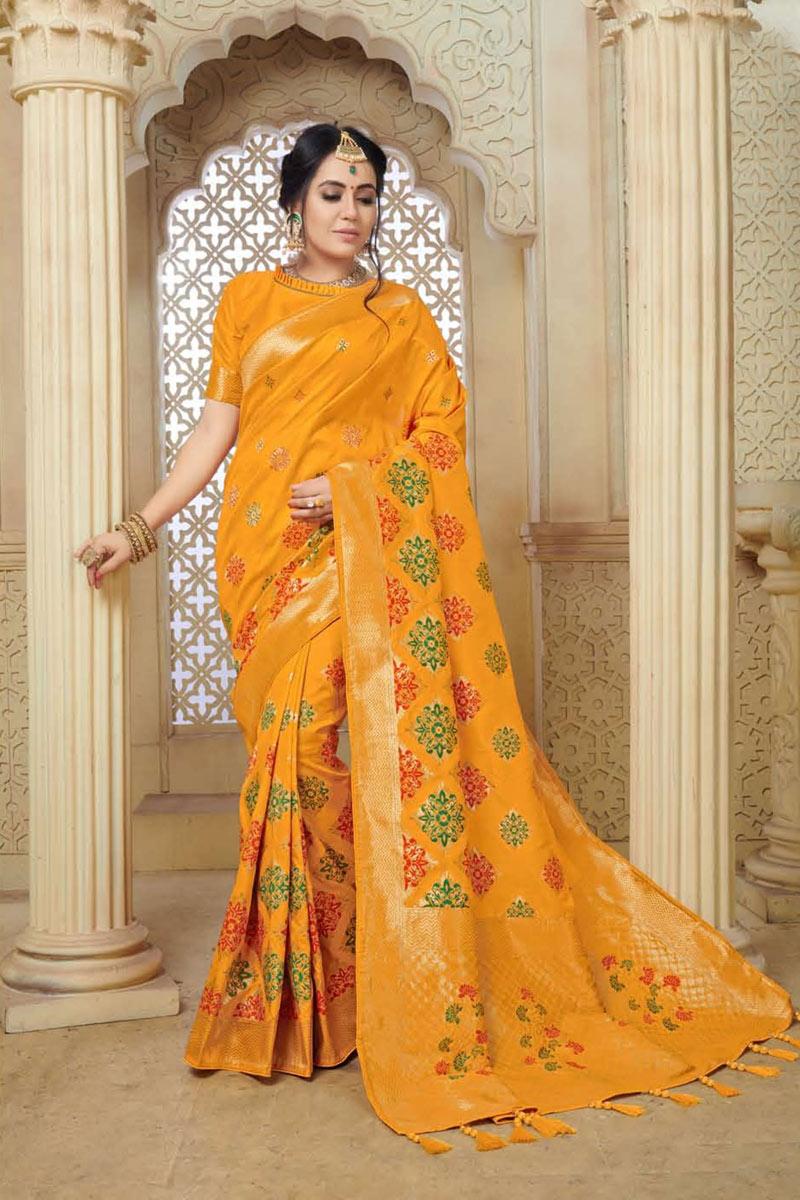 Weaving Work On Reception Wear Saree In Banarasi Silk Fabric Orange Color With Charming Blouse