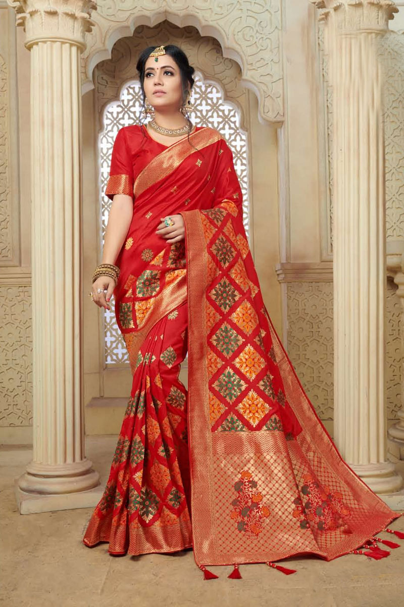 Weaving Work On Red Color Designer Saree In Banarasi Silk Fabric With Admirable Blouse