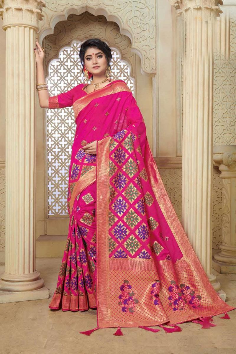 Rani Color Party Wear Saree In Banarasi Silk Fabric With Weaving Work And Beautiful Blouse