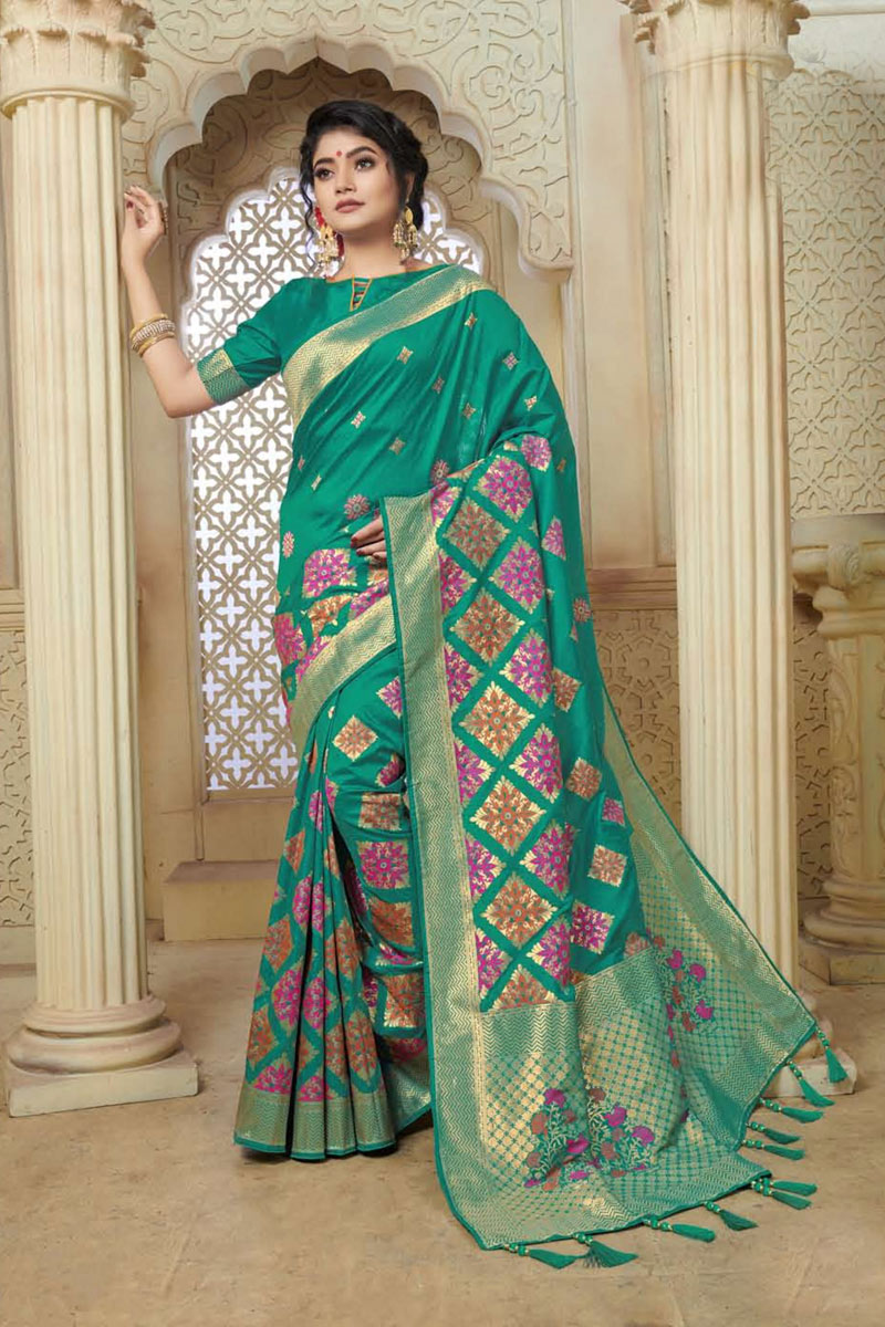Banarasi Silk Fabric Teal Color Festive Wear Saree With Weaving Work And Attractive Blouse