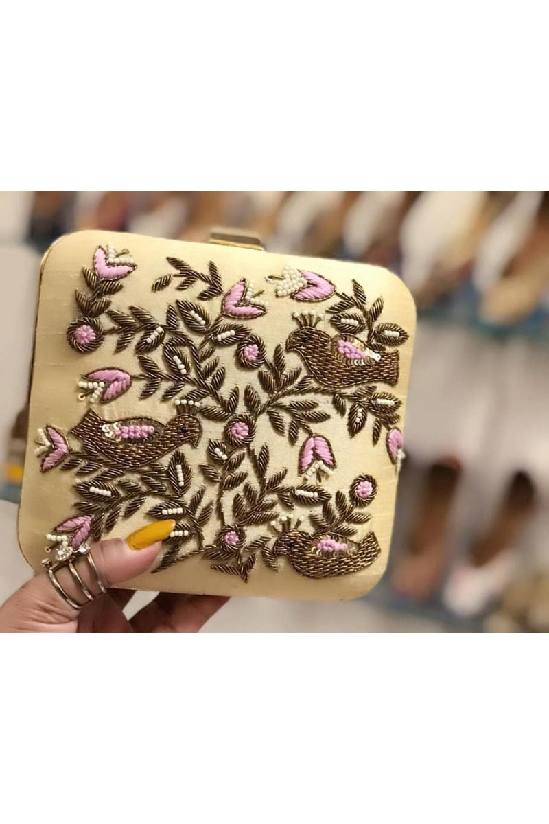 Stylish Beige Designer Box Clutch For Women In Synthetic