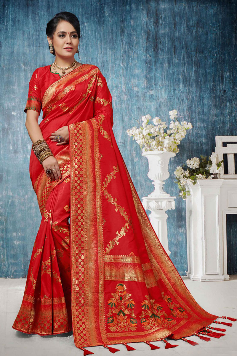 Weaving Work On Banarasi Silk Red Color Function Wear Saree With Party Wear Blouse