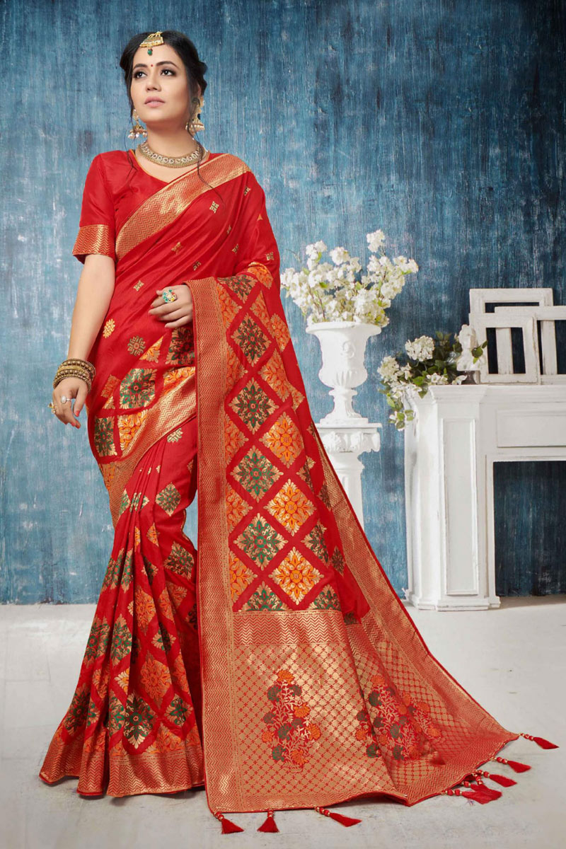 Weaving Work Designs On Red Color Banarasi Silk Party Wear Saree With Designer Blouse