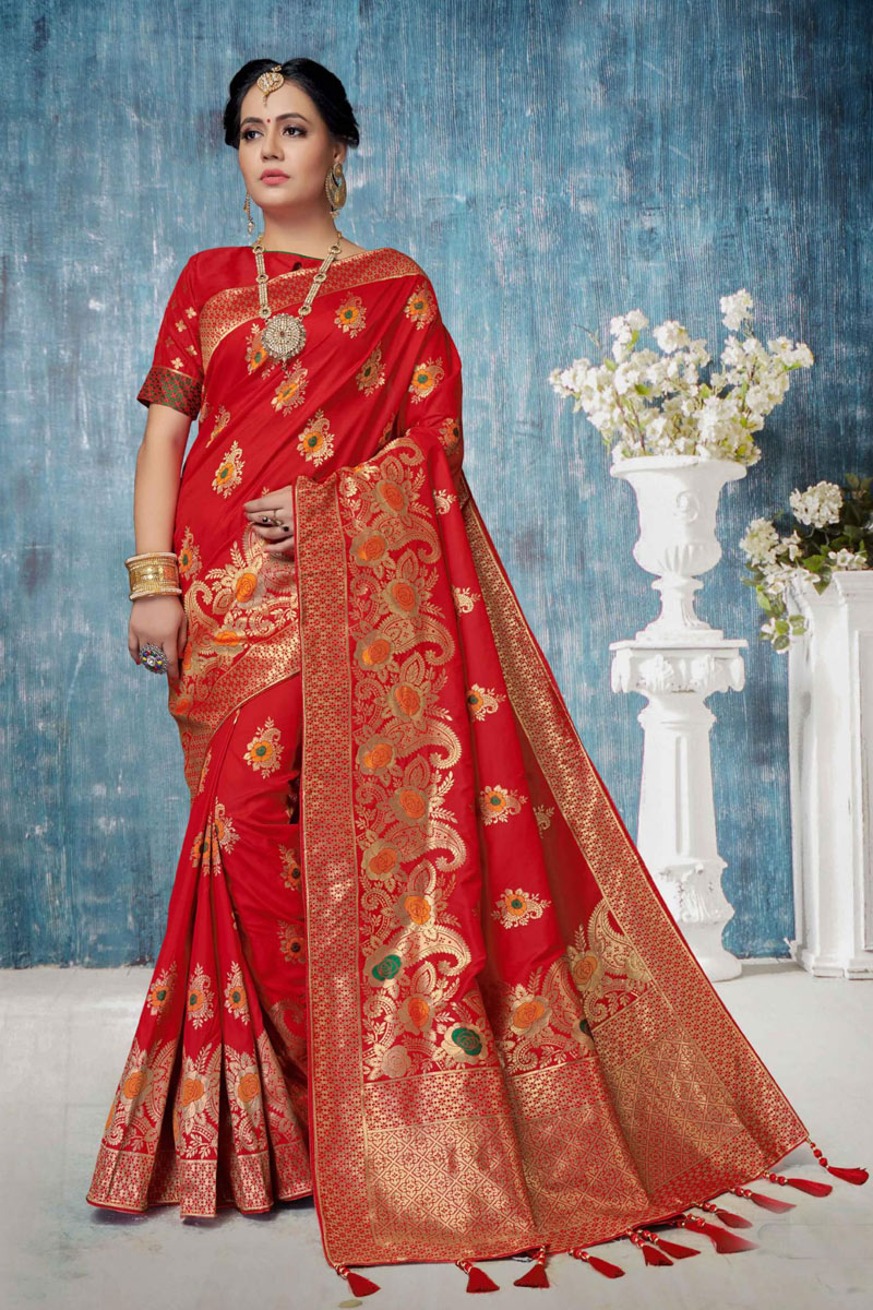 Weaving Work On Banarasi Silk Party Wear Saree In Red Color With Beautiful Blouse