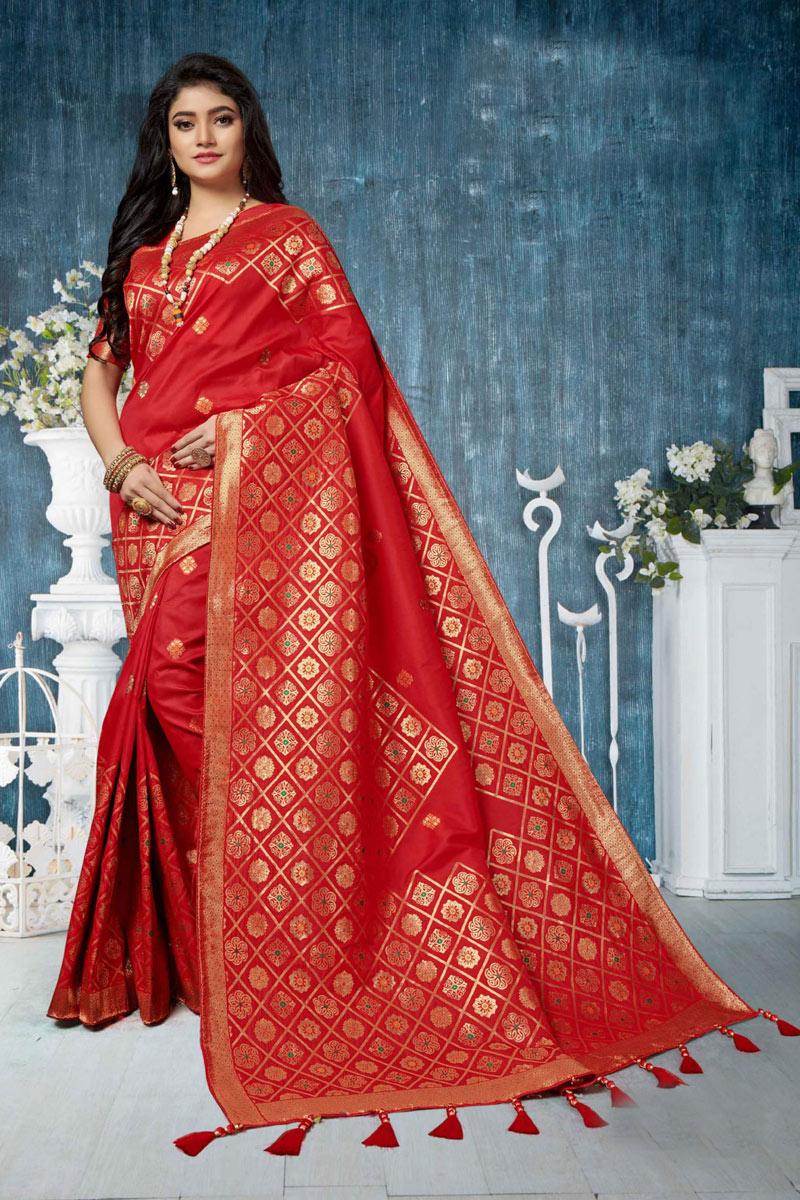 Red Banarasi Silk Fabric Designer Saree With Weaving Work Designs And Enchanting Blouse