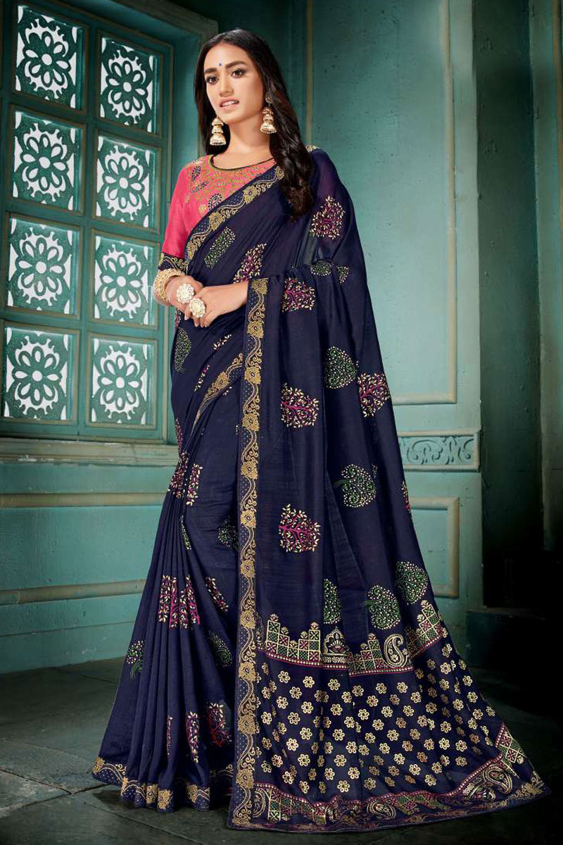 Navy Blue Art Silk Fabric Wedding Wear Saree With Embroidery Work And Gorgeous Blouse