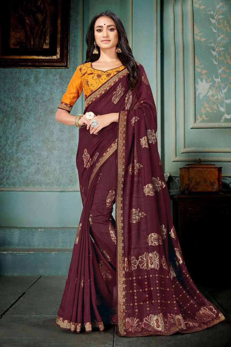 Art Silk Wine Color Festive Saree With Embroidery Work And Gorgeous Blouse
