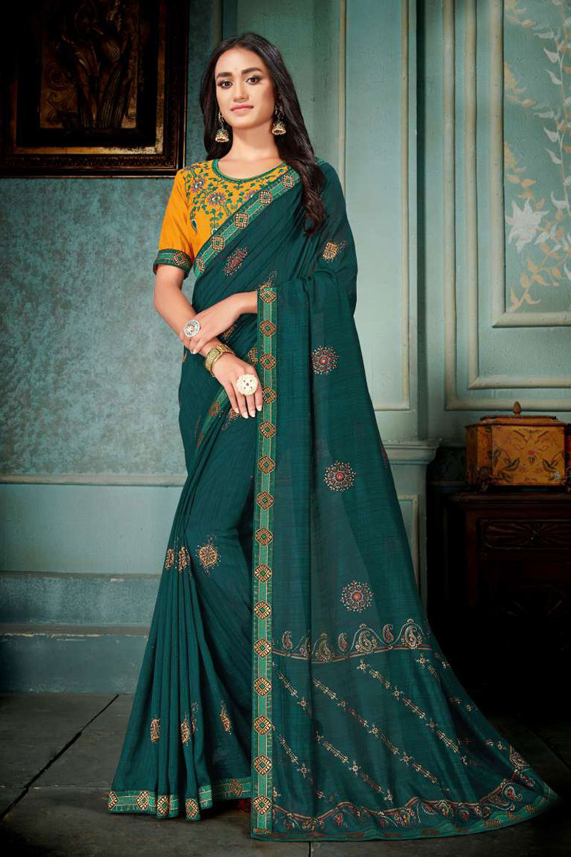 Embroidery Work On Occasion Wear Saree In Teal Color With Designer Blouse