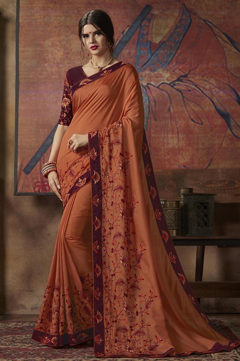 Sangeet Wear Art Silk Fancy Orange Embroidered Saree