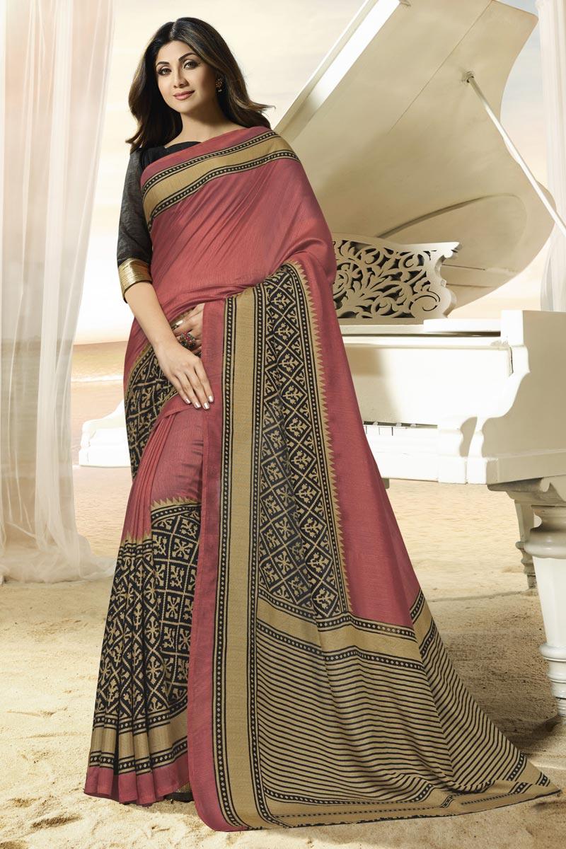 Shilpa Shetty Party Wear Brasso Fabric Weaving Work Saree In Pink