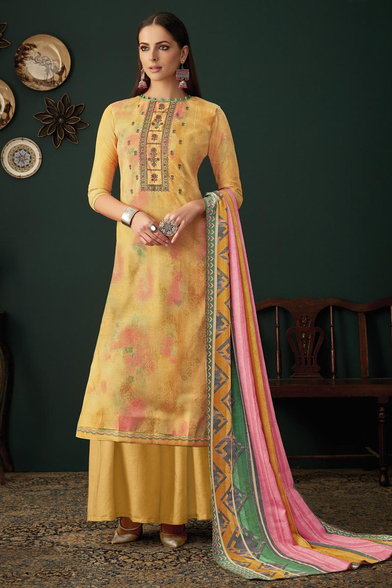 Yellow Fancy Embroidered Festive Wear Palazzo Dress In Pashmina Fabric