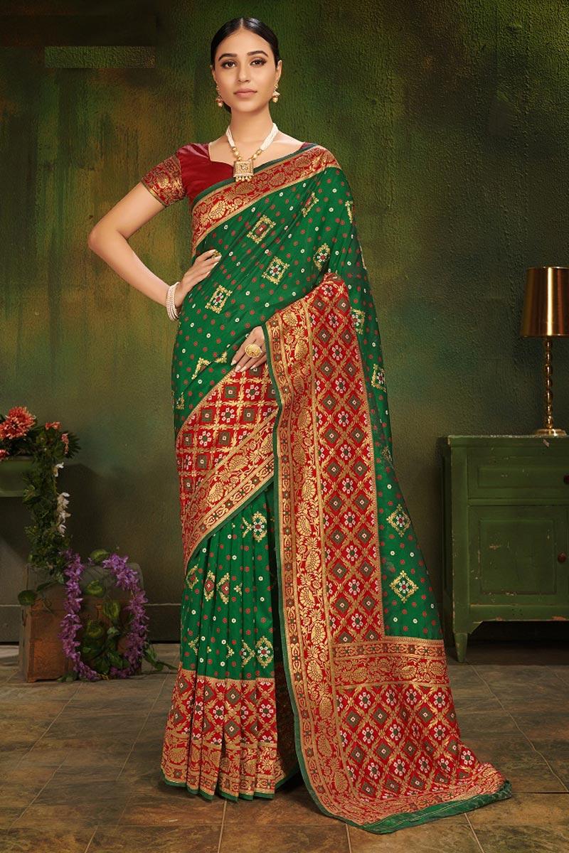 Art Silk Green Festive Wear Fancy Weaving Work Saree