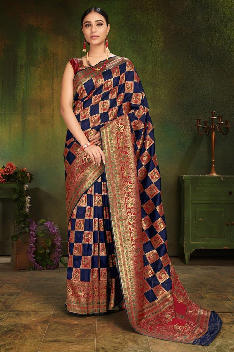 Festive Wear Navy Blue Fancy Weaving Work Art Silk Saree