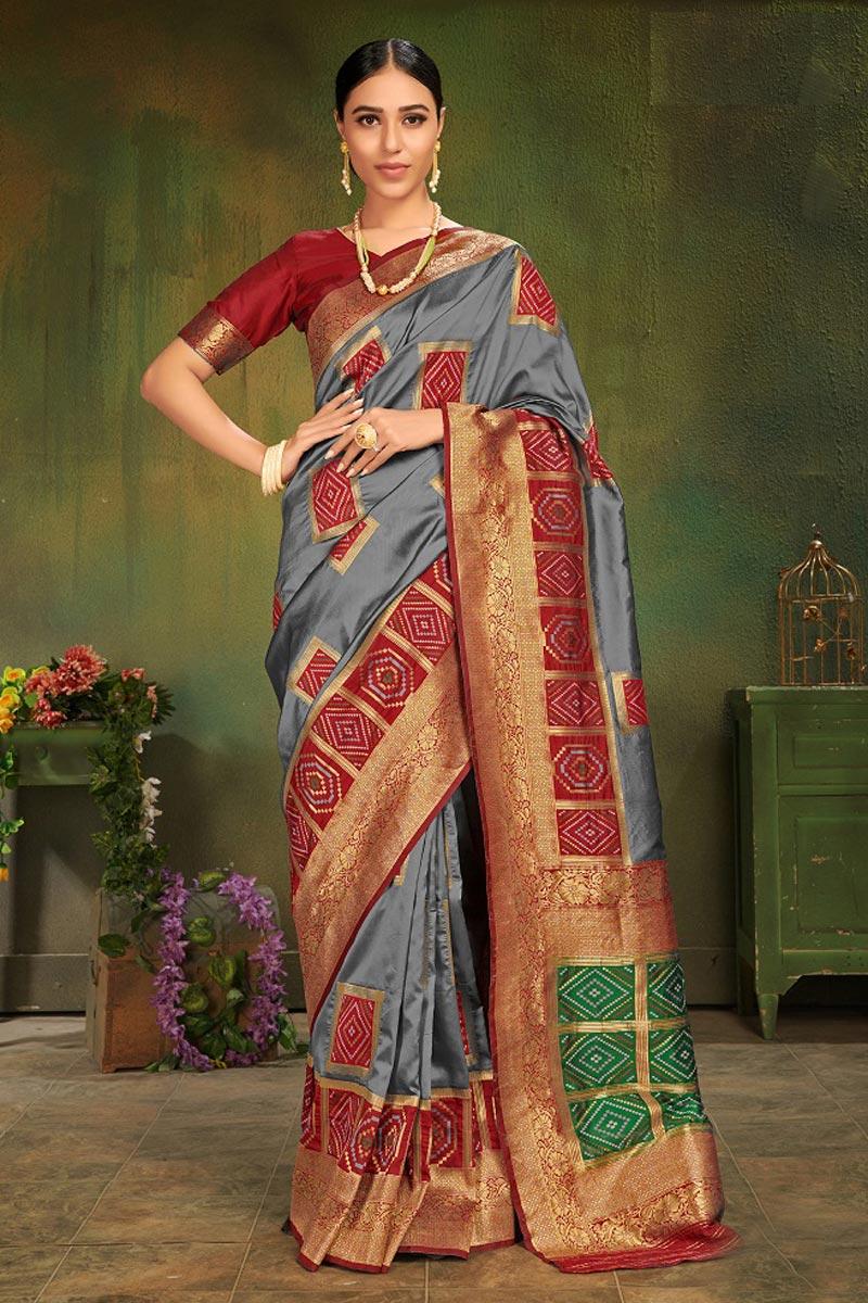 Grey Festive Wear Fancy Weaving Work Art Silk Saree