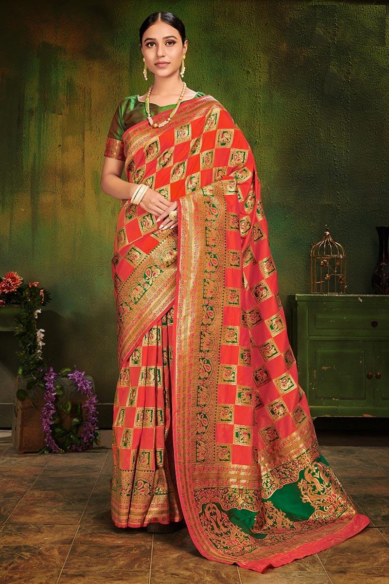 Festive Wear Red Art Silk Fancy Weaving Work Saree
