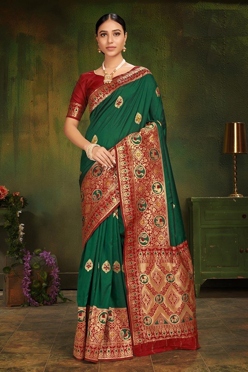 Green Festive Wear Art Silk Fancy Weaving Work Saree