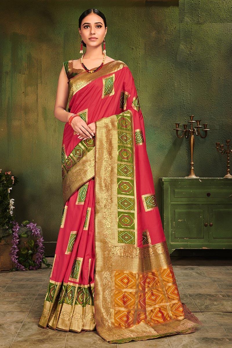 Pink Art Silk Festive Wear Fancy Weaving Work Saree