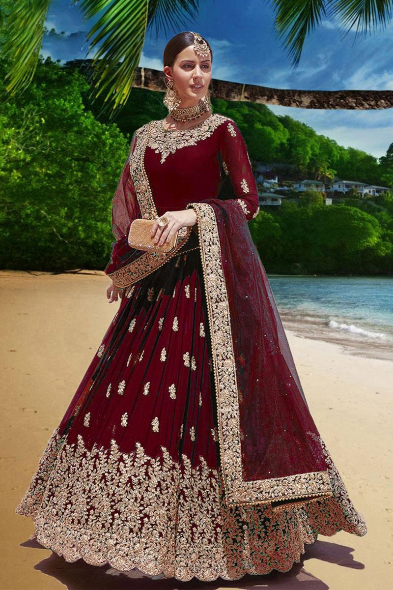 Embroidery Work On Georgette Fabric Maroon Wedding Wear Anarkali Salwar Suit