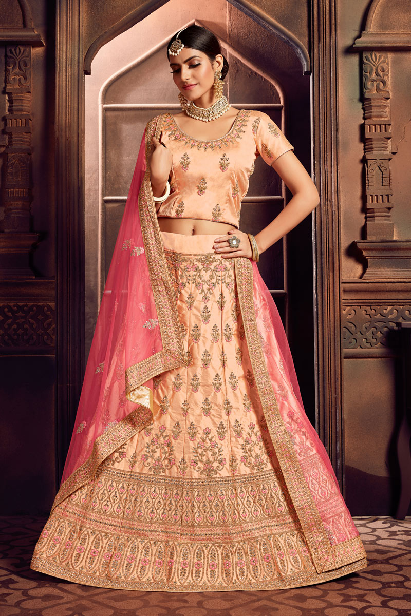 Embroidery Work On Peach Color Designer Lehenga In Art Silk Fabric With Blouse