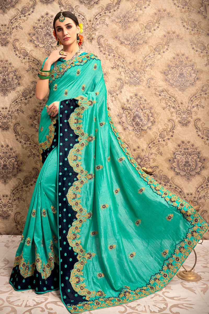 Turquoise Color Party Wear Saree In Art Silk Fabric With Embroidery Work And Designer Blouse