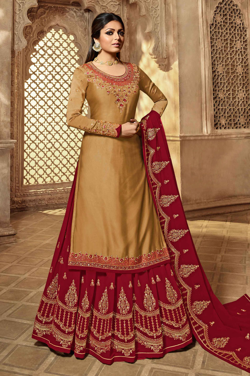 Drashti Dhami Designer Sharara Lehengas Choli In Light Brown Satin Georgette Fabric With Embroidery Work