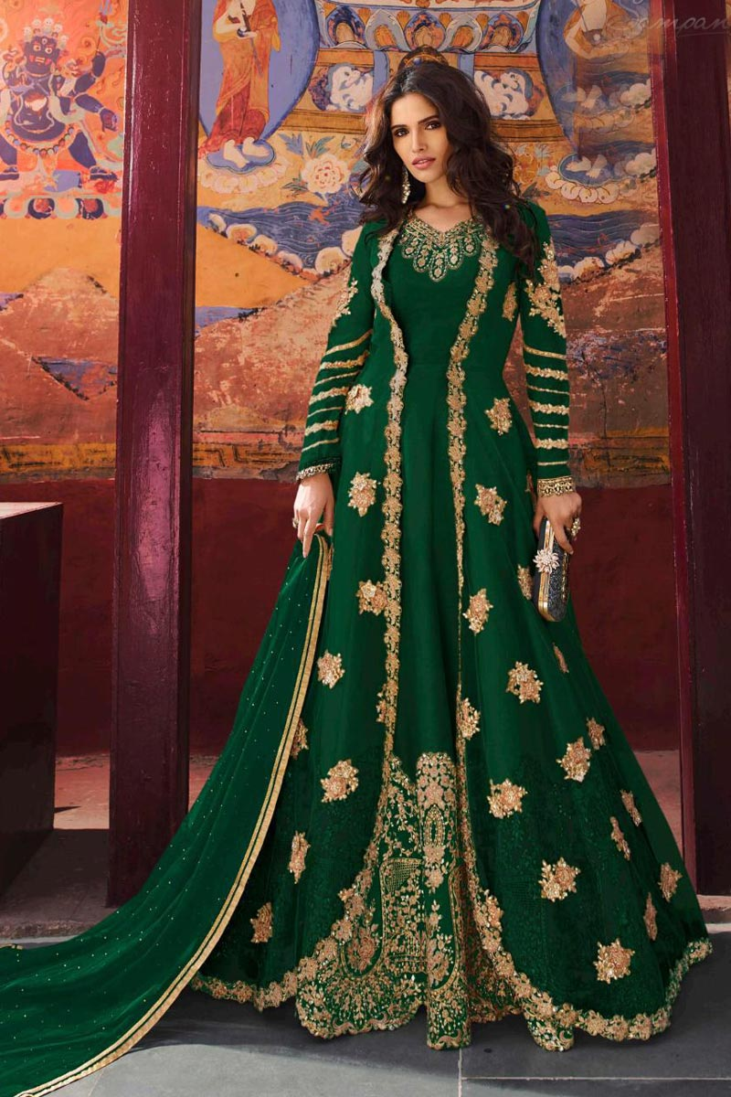 Function Wear Art Silk Embroidered Long Length Anarkali Dress In Green