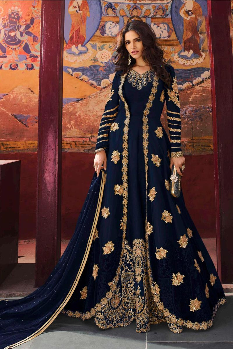 Eid Special Function Wear Long Length Navy Blue Embroidered Anarkali Dress In Art Silk