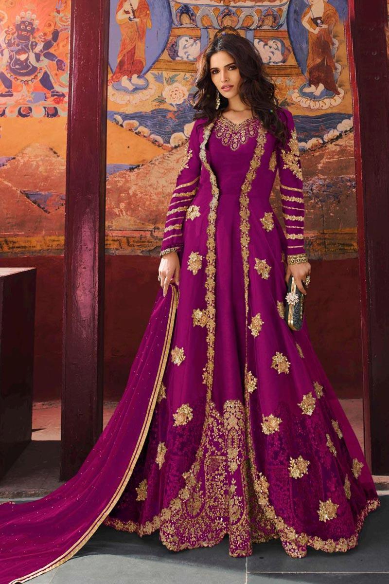 Eid Special Art Silk Function Wear Magenta Color Embroidered Floor Length Anarkali Suit