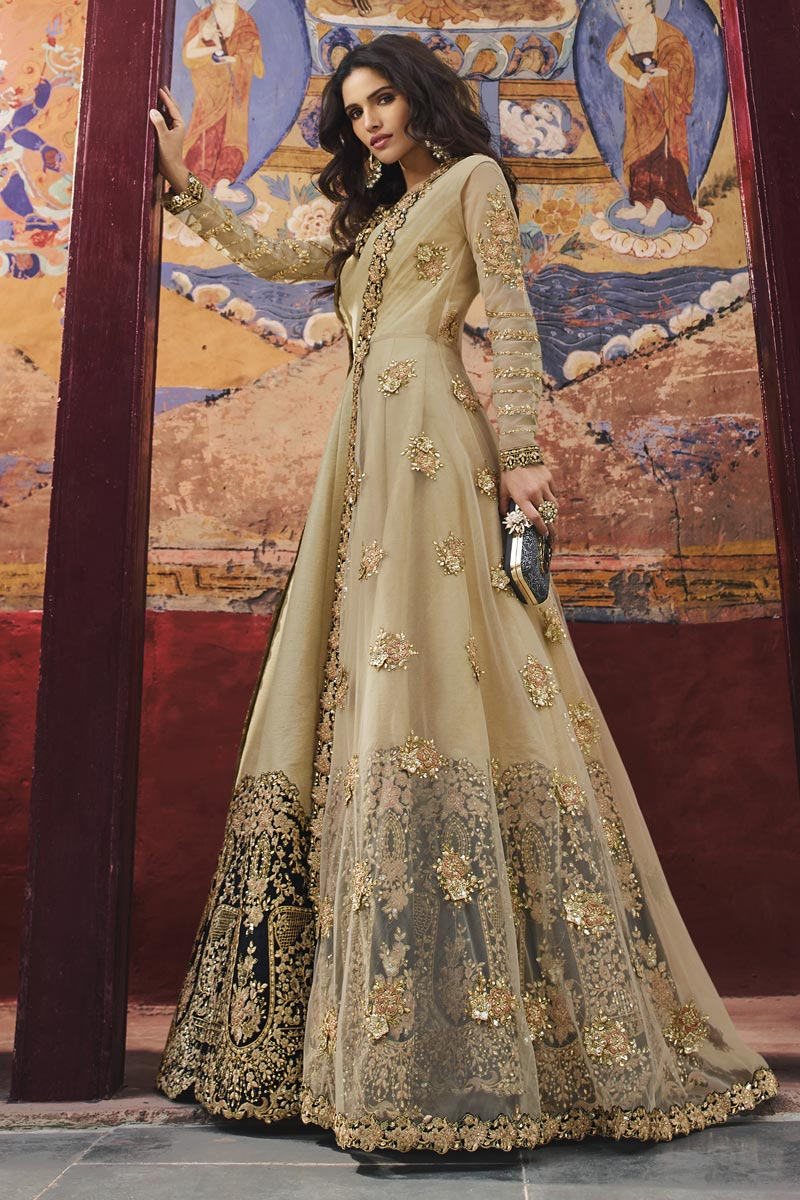 Eid Special Art Silk Beige Function Wear Embroidered Floor Length Anarkali Suit