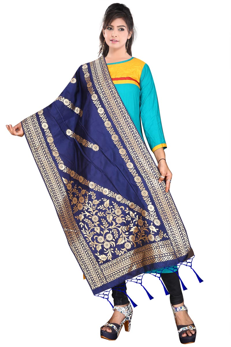Blue Festive Wear Weaving Work Banarasi Silk Dupatta