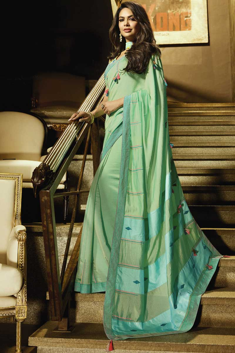 Eid Special Esha Gupta Occasion Wear Sea Green Saree In Georgette With Embroidery