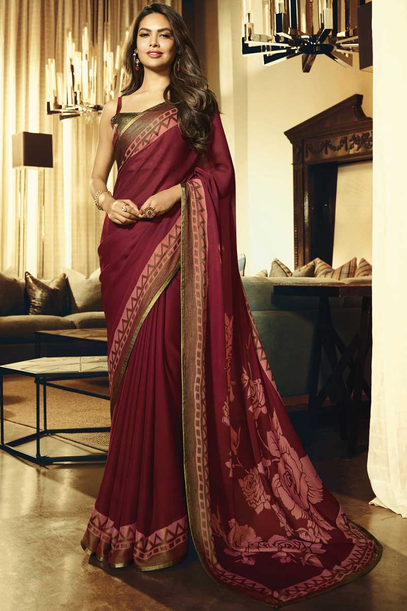 Eid Special Esha Gupta Maroon Party Style Georgette Saree With Embroidery Work