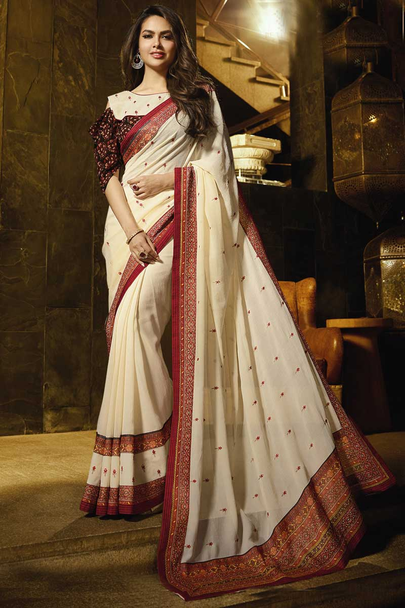 Eid Special Esha Gupta Beige Festive Wear Georgette Saree With Embroidery Work
